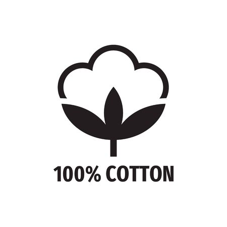 100% cotton - web black icon design. Natural fiber sign. Vector illustration. Imagens - 133557294