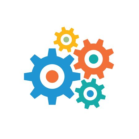 Gears - colored icon on white background vector illustration for website, mobile application, presentation, infographic. Cogwheels process concept sign. SEO - search engine optimization. Imagens - 133557295
