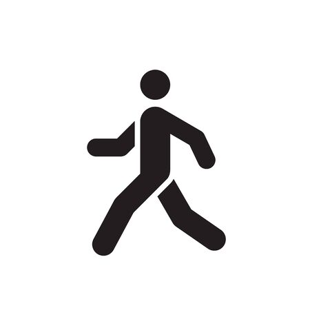 Walk man black icon design. Run human concept sign. Vector illustration. Ilustração