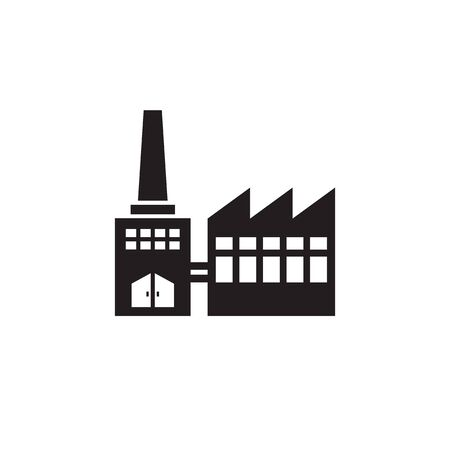 Factory plant - black icon on white background vector illustration for website, mobile application, presentation, infographic. Industrial building concept sign. Graphic design element.