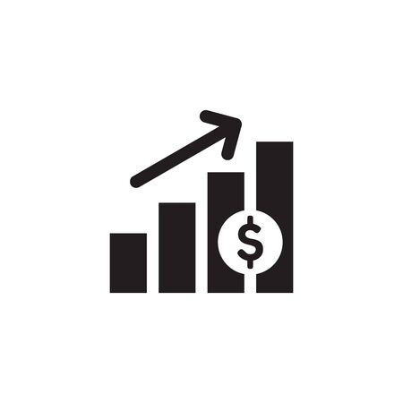 Finance exchange graphic growth up. Black web icon design. Vector illustration.