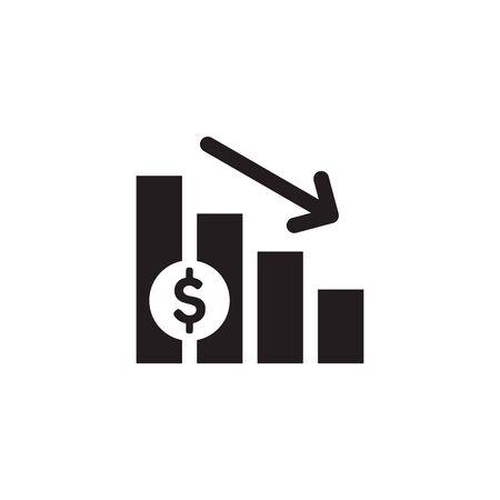 Finance exchange graphic down. Black web icon design. Vector illustration. Ilustração