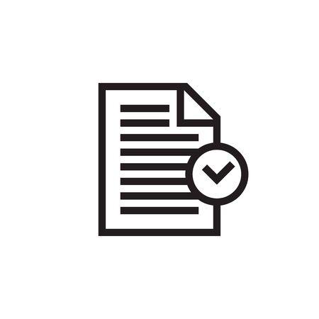 Compliance black icon design. Line style. Document with check mark sign. Vector illustration. Ilustração