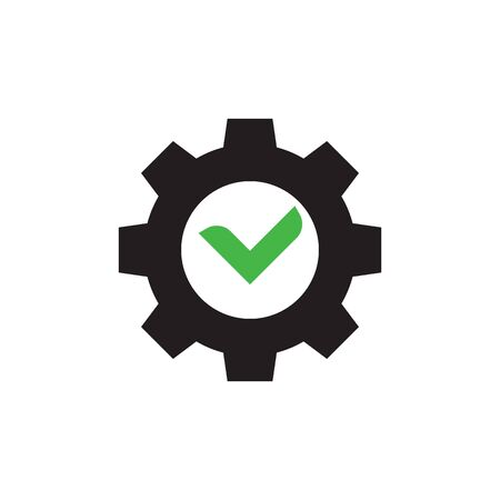 Gear with checkmark icon design. Vector illustration.