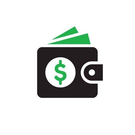 Wallet with dollar money - web icon design. Vector illustration.