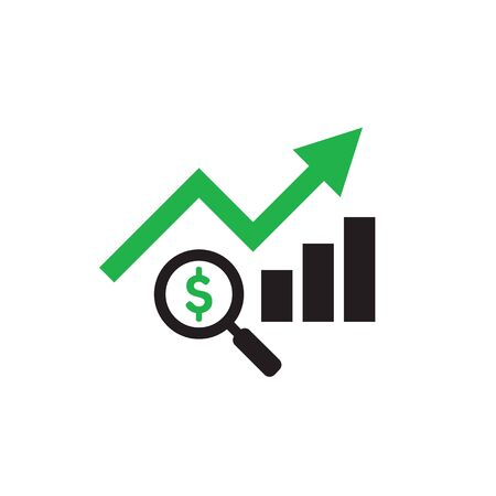 Finance exchange graphic growth up and magnifier lens with dollar sign. Web icon design. Vector illustration. Ilustração