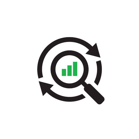 Magnifier with finance growth graphic and arrows. Web icon design. Exchange market symbol. Vector illustration.