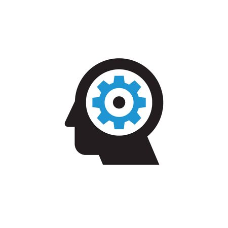 Head and gear - web icon design. SEO sign. Creative idea generation symbol. Vector illustration.