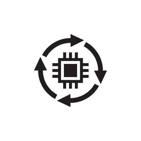 CPU - black icon design. Computer chip processor with cycle arrows. Vector illustration.