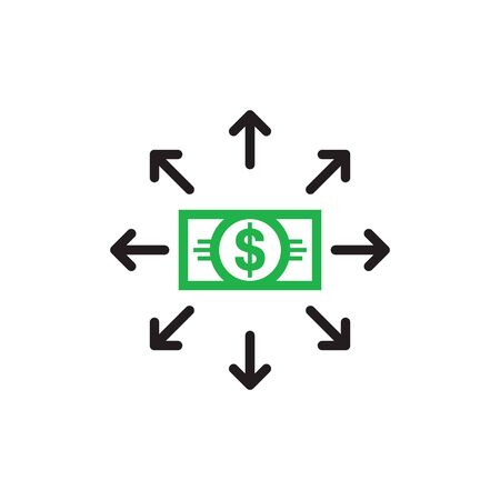 Dollar money and arrows - concept icon design. Business financial investment sign. Vector illustration.