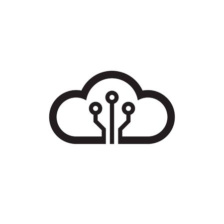 Cloud hosting icon design. Computing technology sign. Server network connection symbol. Vector illustration. Imagens - 132039663