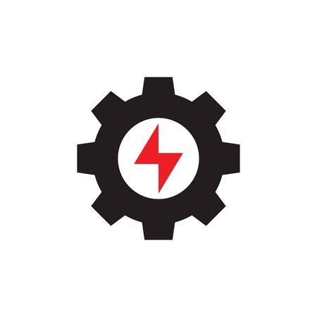 Gear with lightning - web icon design. Power energy sign. Vector illustration. Ilustração