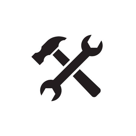 Tools hammer & wrench - concept vector icon design. Repair service sign.
