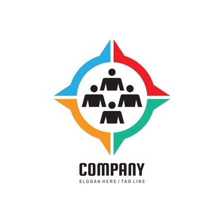 Business company logo. Group of people - concept sign. Teamwork friendship creative symbol. Vector illustration. Ilustração