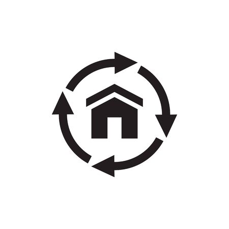 House build and arrows - black web icon. Graphic design element. Vector illustration.