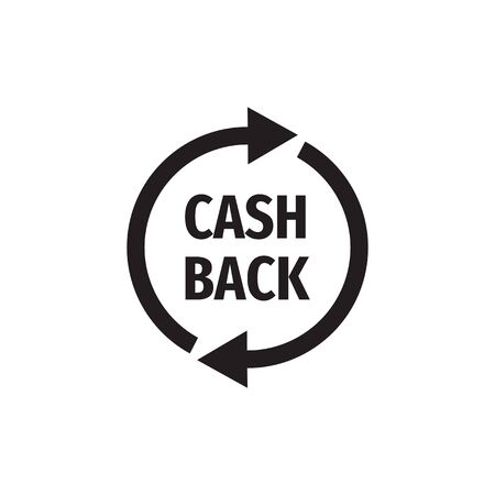 Cash back money refound - black icon design. Vector illustration. Ilustração