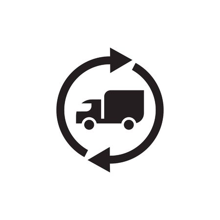 Transport truck delivery and arrows - black icon flat design. Transportation sign. Vector illustration. Ilustração