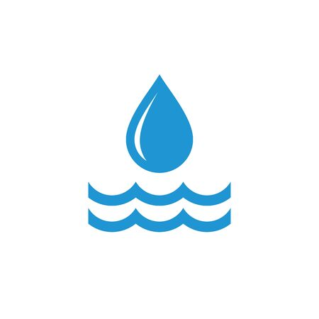 Water drop and waves - blue icon design. Vector illustration. Ilustração