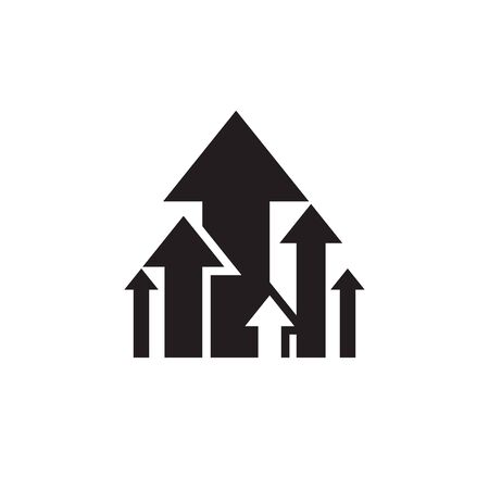 Arrows up - black icon design. Business trend sign. Exchange growth graphic. Vector illustration.