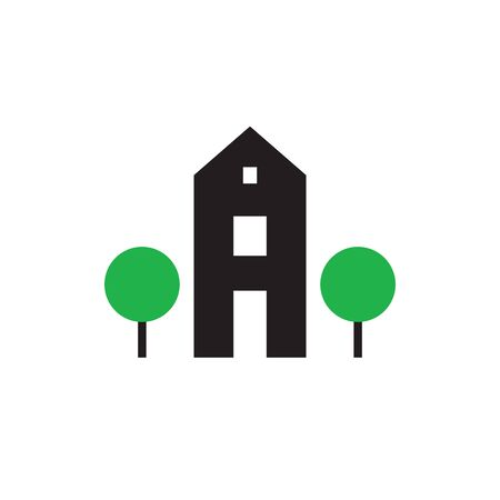 House building and trees - concept vector icon design. Real estate sign. Imagens - 132047751