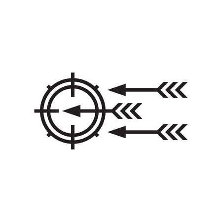 Target with arrows - black icon onwhite background vector illustration. Business strategy concept sign. Graphic design element. Ilustração