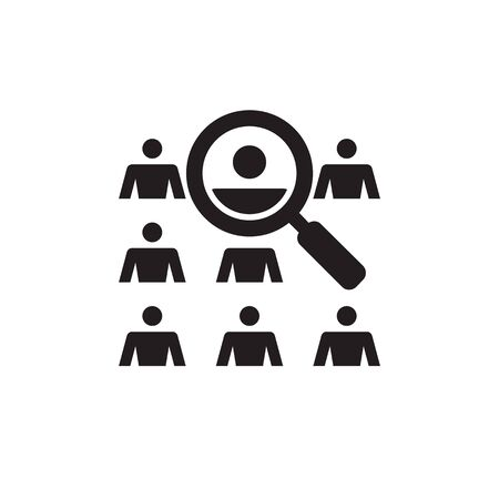 People and magnifier lens - vector icon design. Human search find sign. Imagens - 132047686