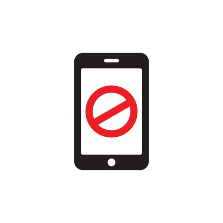 Smartphone no connection - icon design. Mobile phone no access sign. Vector illustration.