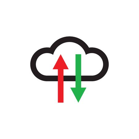 Cloud hosting icon design. Computing technology sign. Download and upload arrows symbol. Vector illustration. Imagens - 133057263