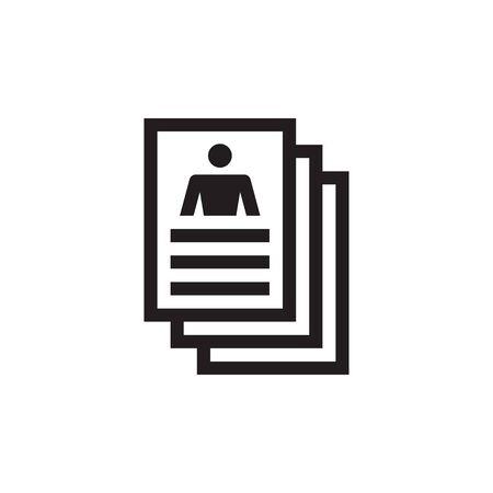 Resume document vector icon design. Profile ID concept sign.