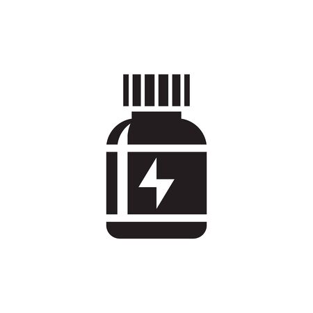 Medicine bottle - black icon design. Pills vial concept sign. Sports nutrition. Energy drink Ilustração