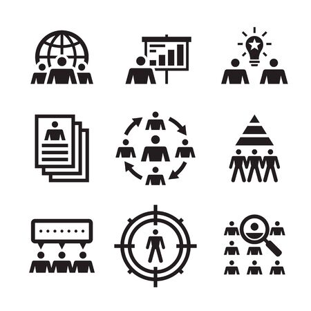 Business people - vector icons set. Teamwork leadership creative sign. Office emloyees symbol. Graphic design elements.