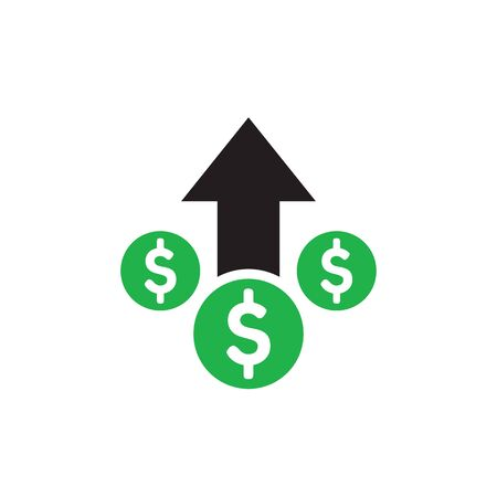 Money dollar up arrow, growth finance graphic - concept icon design. Success sign. Vector illustration. Иллюстрация