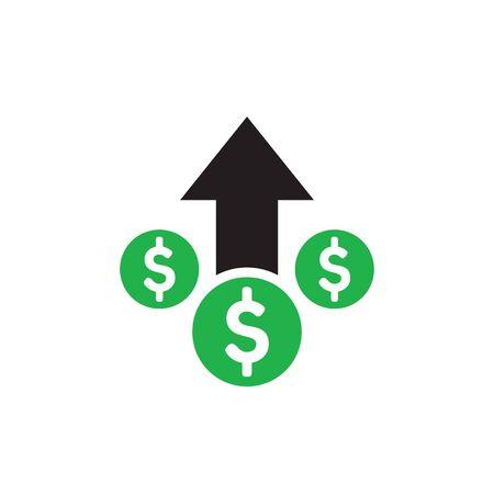 Money dollar up arrow, growth finance graphic - concept icon design. Success sign. Vector illustration. Ilustração