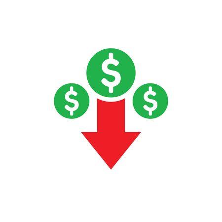 Money dollar down arrow, falling finance graphic - concept icon design. Crash collapse sign. Vector illustration. Ilustração
