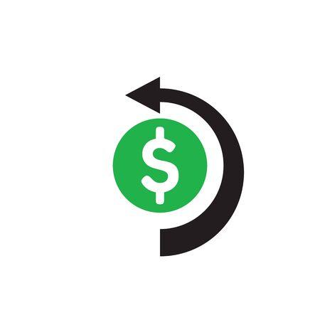 Dollar money and arrow - concept icon design. Cash back sign. Vector illustration. 版權商用圖片 - 135476214