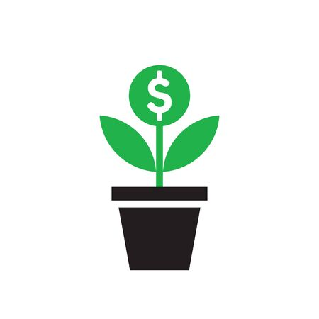 Dollar plant sprout growth - concept icon design. Success investment sign. Money flower tree in pot. Vector illustration.