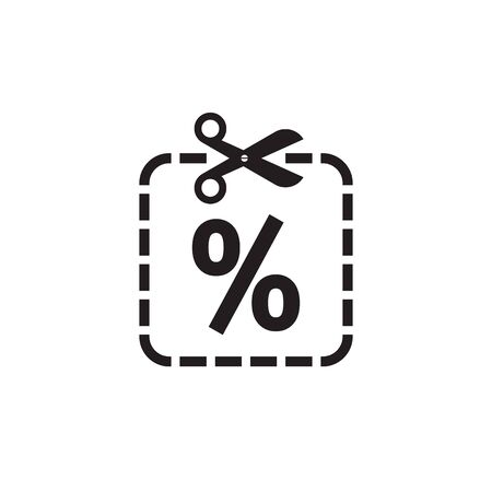 Scissors and discount percent - vector icon design. Cut line. Sale emblem.
