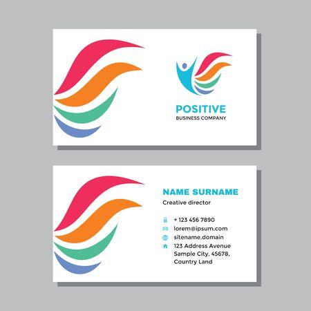 Business visit card template with logo - concept design. Positive healthcare logo. Vector illustration.