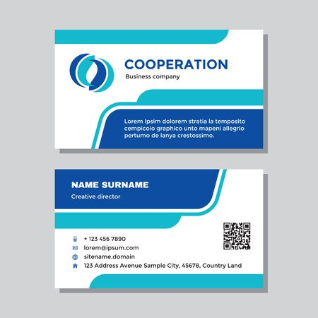 Business visit card template with logo - concept design. Abstract shapes, cooperation branding logo symbol. Vector illustration.