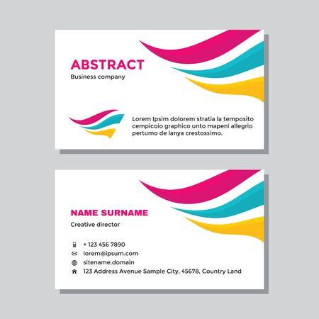 Business visit card template with logo - concept design. Abstract dynamic wing branding logo symbol. Vector illustration. Ilustração