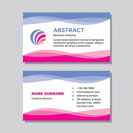 Business visit card template with logo - concept design. Abstract shapes logo branding. Vector illustration.