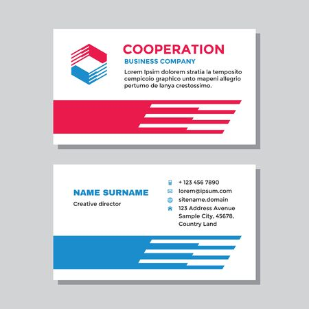 Business visit card template with logo - concept design. Abstract cooperation branding logo symbol. Vector illustration.