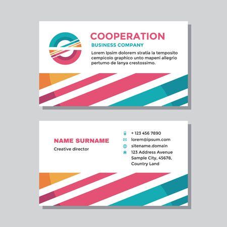 Business visit card template with logo - concept design. Abstract shapes cooperation logo branding. Vector illustration. Ilustração