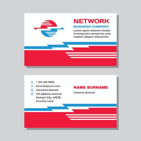 Business visit card template with logo - concept design. Computer network electronic technology logo branding. Vector illustration.