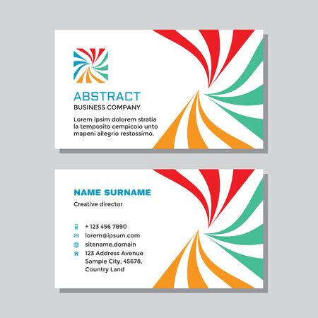 Business visit card template with logo - concept design. Abstract teamwork cooperation branding logo symbol. Vector illustration.