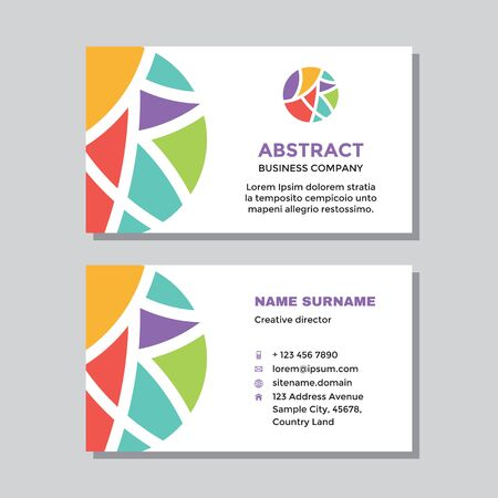 Business visit card template with logo - concept design. Abstract shapes in circle logo branding. Vector illustration.