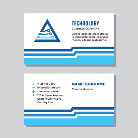 Business visit card template with logo - concept design. Network computer technology logo. Vector illustration.