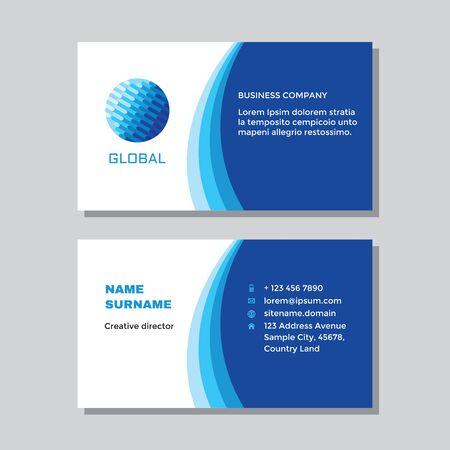 Business visit card template with logo - concept design. Computer global network technology logo. Vector illustration. Ilustração