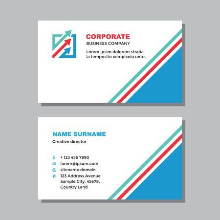 Business visit card template with logo - concept design. Arrows growth market exchange logo brand. Vector illustration.