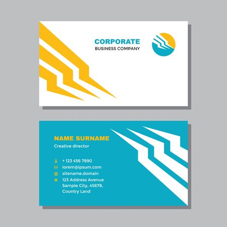 Business visit card template with logo - concept design. Abstract dynamic shapes logo branding. Vector illustration.